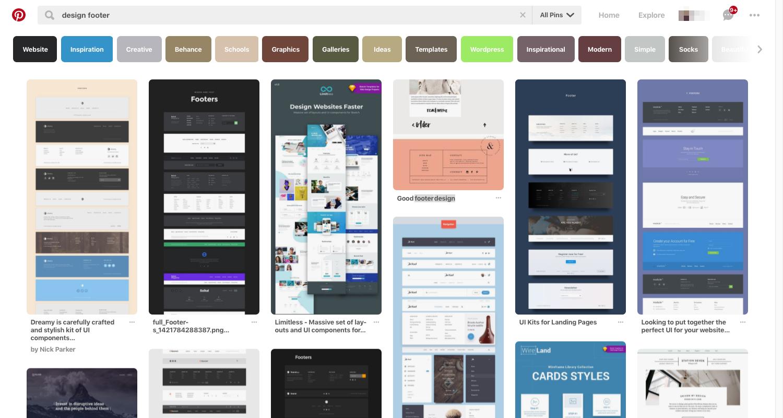 Pinterest - design footer