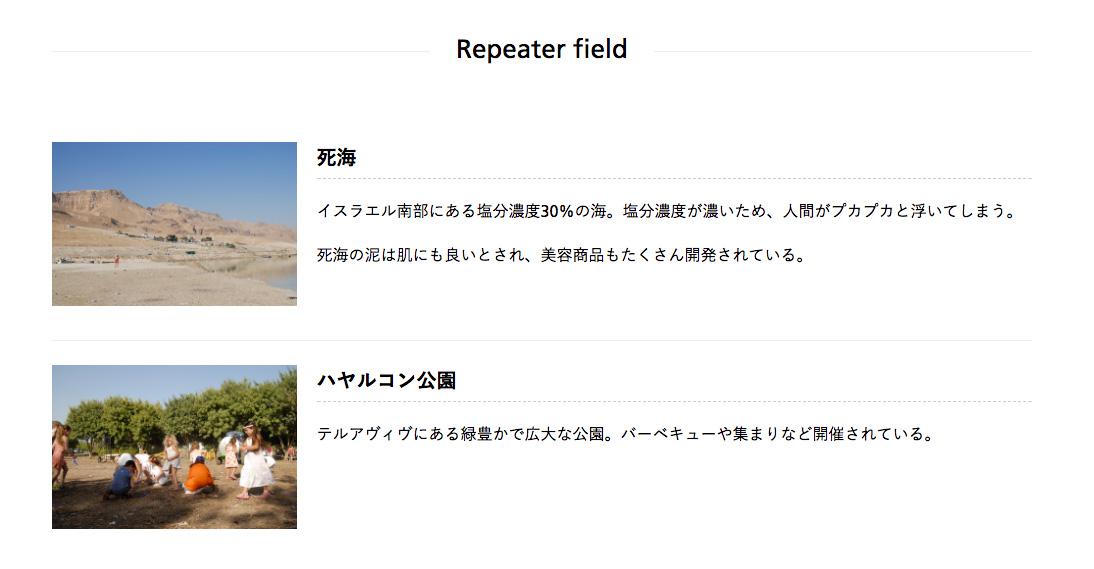The Repeater Fieldで繰り返しフィールドを実装する