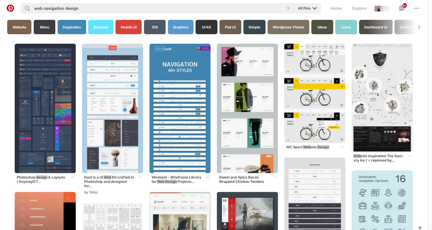 Pinterest - web navigation design