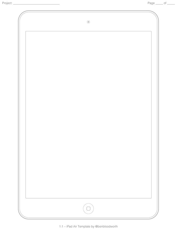 iPad Air用ワイヤーフレームテンプレート