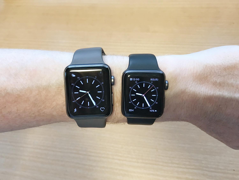 Apple Watch 38mmと42mmサイズ比較 男性が着けた場合