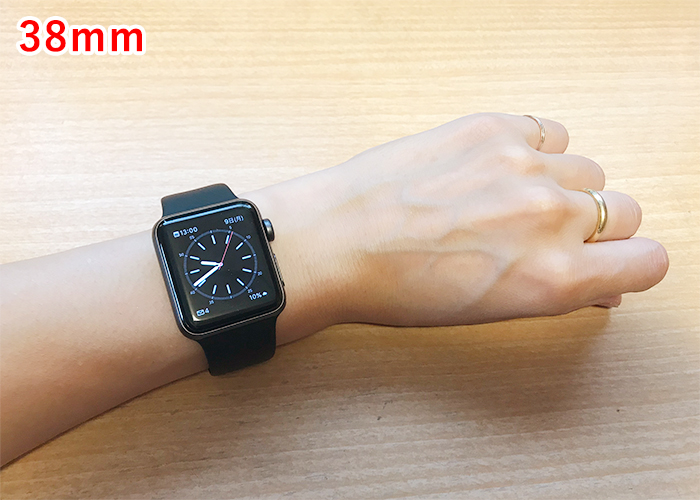 Apple Watch 38mmと42mmサイズ比較 女性が38mmを着けた場合