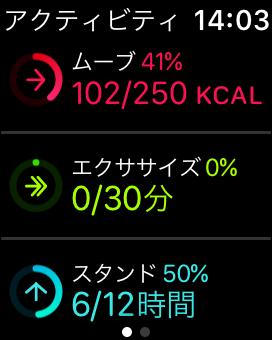 Apple Watch アクティビティ画面