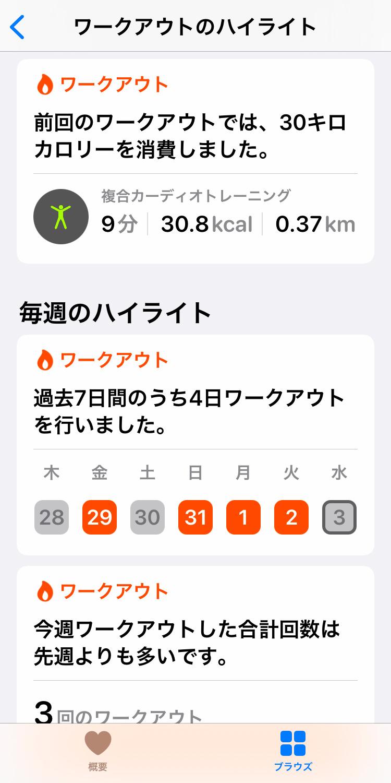 iPhone「ヘルスケア 」アプリ:ワークアウト画面
