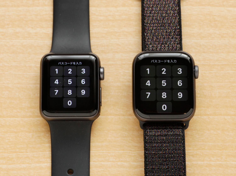 Apple Watch Series 4(40mm)とSeries 3(38mm)のサイズ比較 パスコードの画面