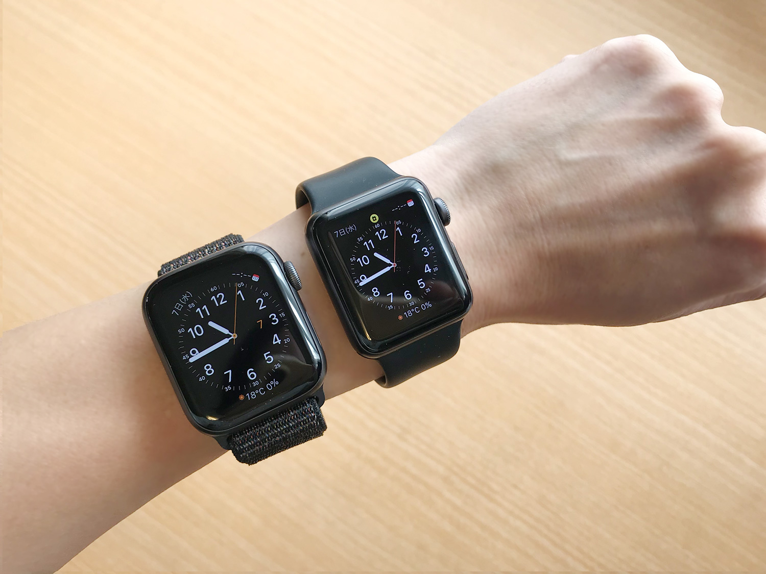 Apple Watch Series 4(40mm)とSeries 3(38mm)のサイズ比較