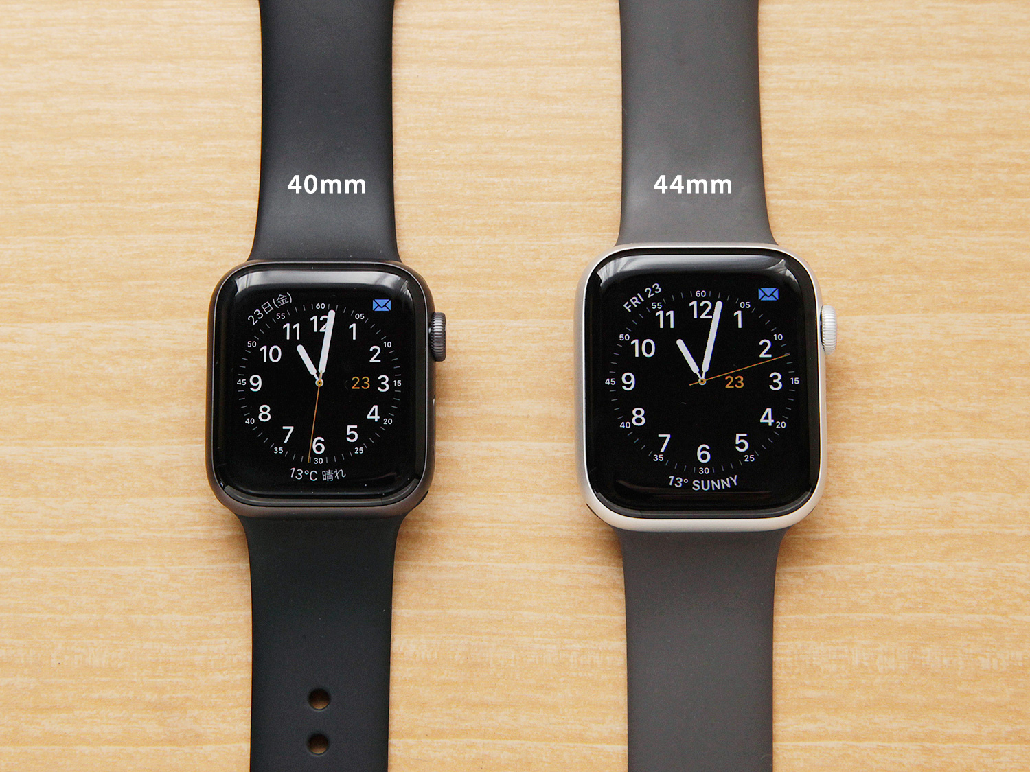 Apple Watch Seires 4の40mmと44mmサイズ比較(文字盤)