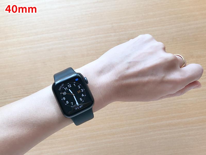 女性が着けたApple Watch Seires 4の40mm