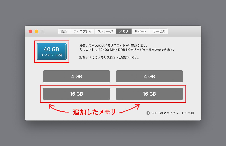 iMac27インチ (Retina 5K)のメモリーを8GBから40GBに増やす