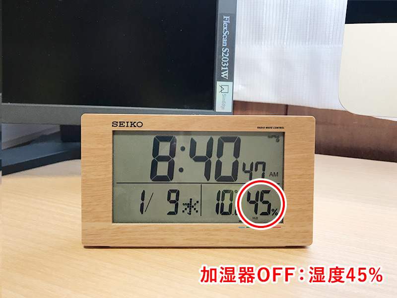 超音波加湿器「uruoi+(うるおいプラス)」稼働前の湿度