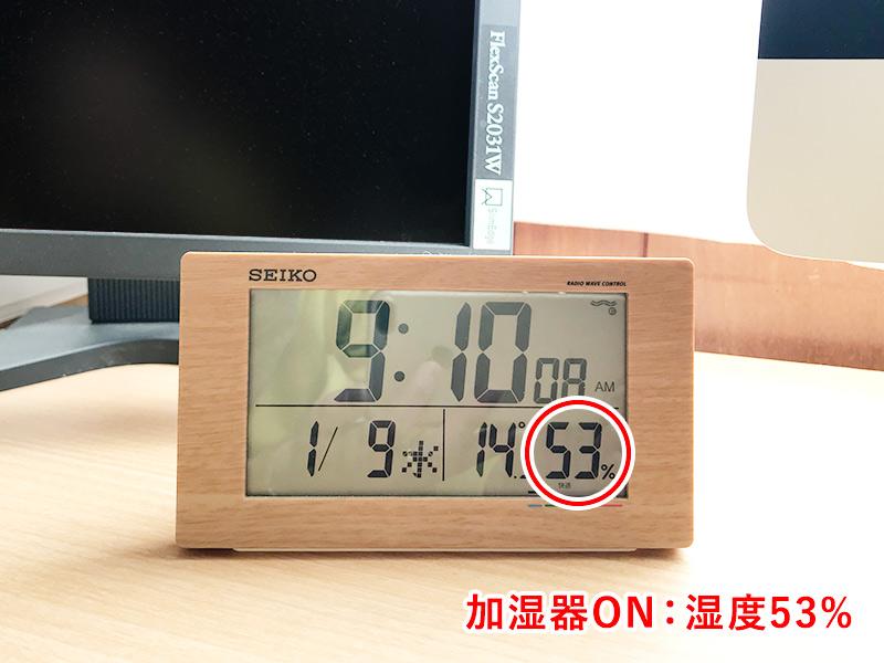 超音波加湿器「uruoi+(うるおいプラス)」稼働後の湿度