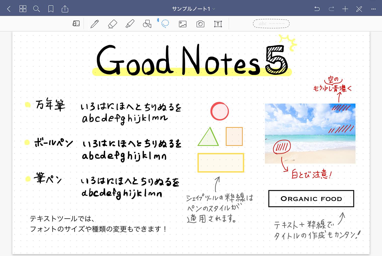GoodNotes 5の書き方例