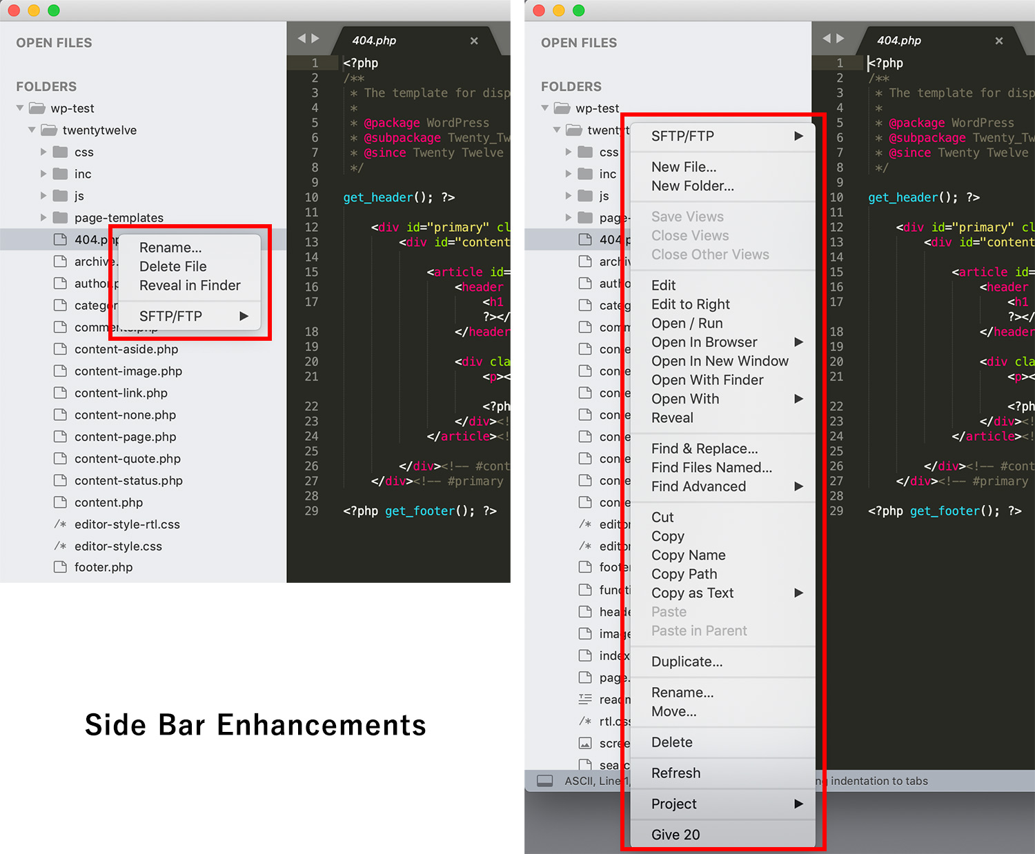 Sublime Textパッケージ「Side Bar Enhancements」