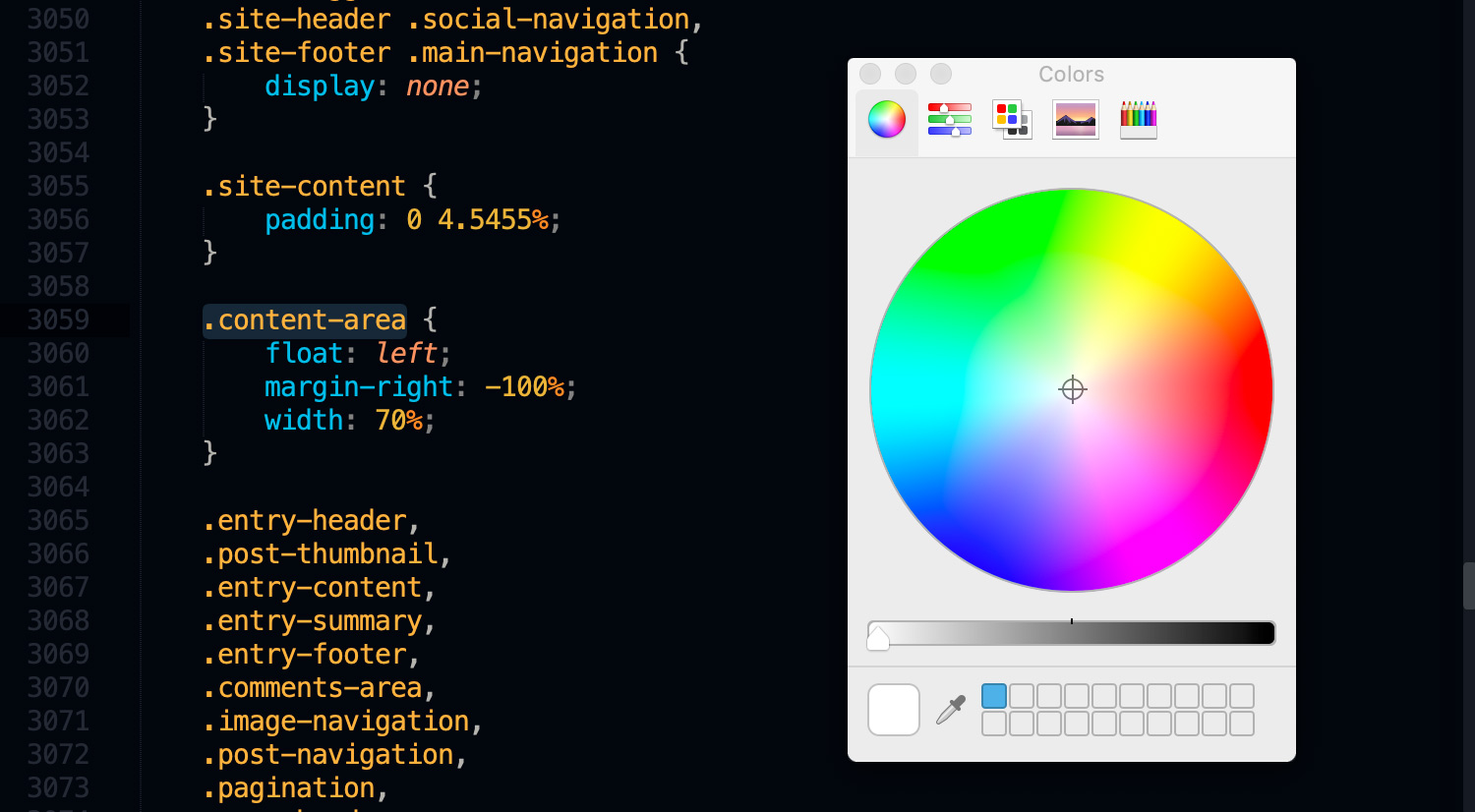 Sublime Textパッケージ「Color​Picker」