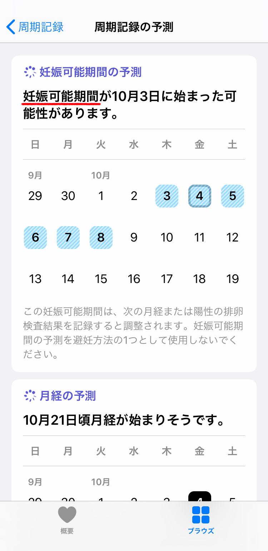 iPhone 周期記録で月経周期を確認する