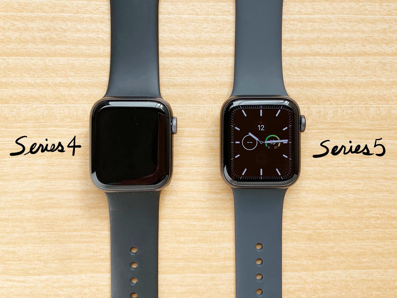 Apple Watch Series 5とSeries 4の比較画像|常時表示の違い