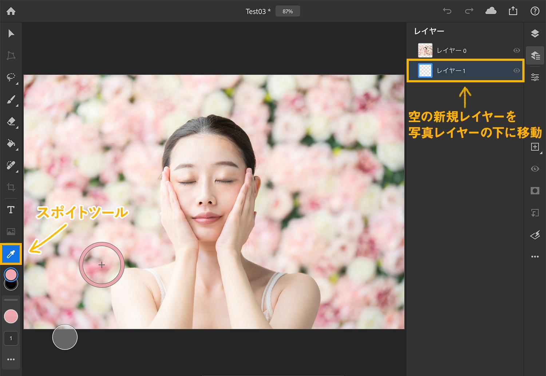 【iPad版Photoshopで写真の背景を切り抜く】スポイトツールで色を選択する