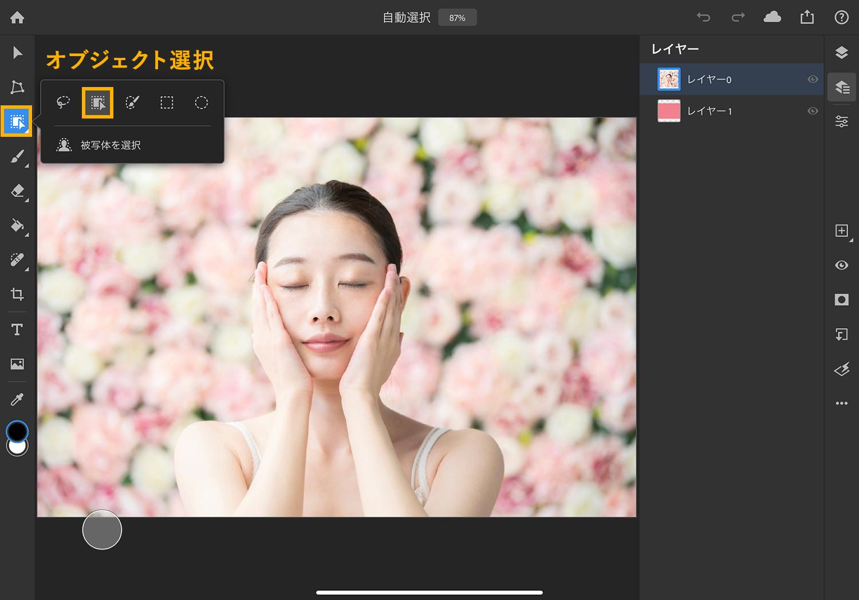 【iPad版Photoshopで写真の背景を切り抜く】「オブジェクト選択」を使用して、自動的に選択範囲を作成する