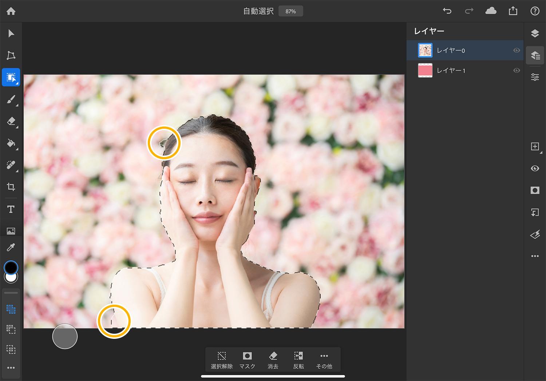 【iPad版Photoshopで写真の背景を切り抜く】「オブジェクト選択」で作成した選択範囲を修正する