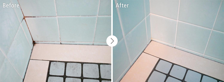 おそうじ本舗の浴室クリーンニング:床のカビ・汚れ ビフォーアフター(Before After)