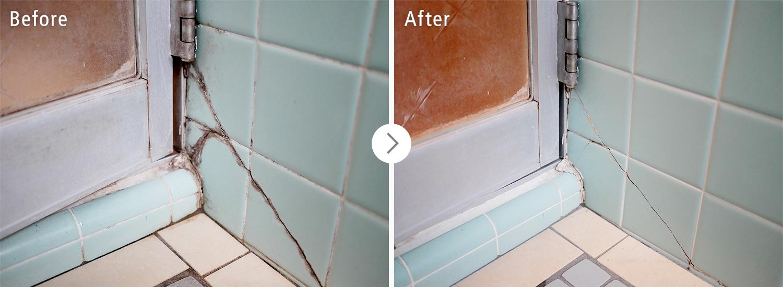 おそうじ本舗の浴室クリーンニング:床やひび割れのカビ・汚れ ビフォーアフター(Before After)