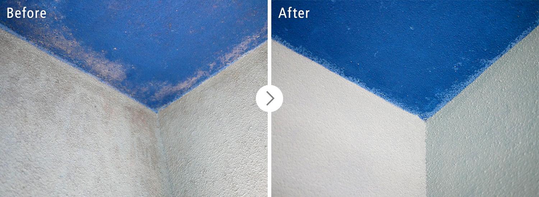 おそうじ本舗の浴室クリーンニング:天井のカビ・汚れ ビフォーアフター(Before After)