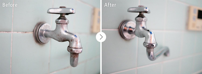 おそうじ本舗の浴室クリーンニング:水道のカビ・汚れ ビフォーアフター(Before After)