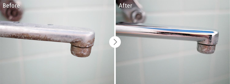 おそうじ本舗の浴室クリーンニング:水道の蛇口のカビ・汚れ ビフォーアフター(Before After)