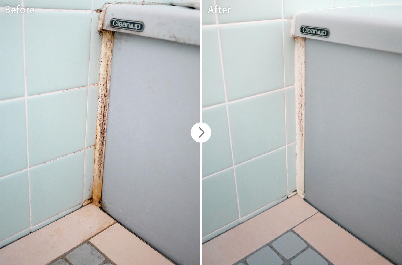おそうじ本舗の浴室クリーンニング:浴槽とタイルの壁のカビ・汚れ ビフォーアフター(Before After)