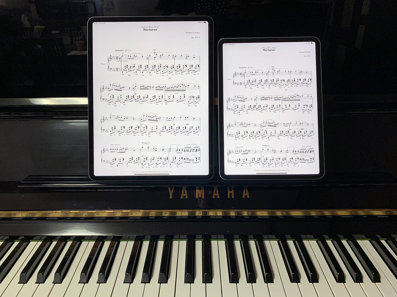 iPad Pro 12.9インチと11インチ比較:楽譜を見ながらピアノを弾くならどっち?