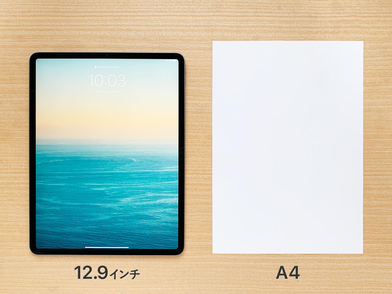 iPad Pro 12.9インチとA4コピー用紙を比較