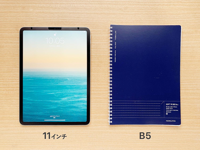 iPad Pro 11インチとB5ノートを比較