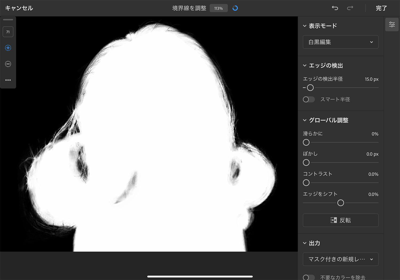 iPad版Photoshop「境界線調整ツール」: 表示モードを「白黒編集」にする