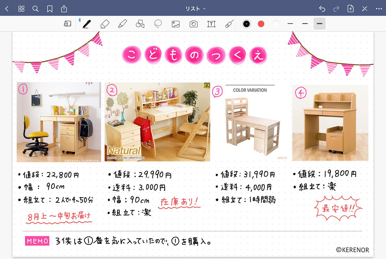 ノートアプリ 「GoodNotes 5」で視覚的に商品を比較する - 机