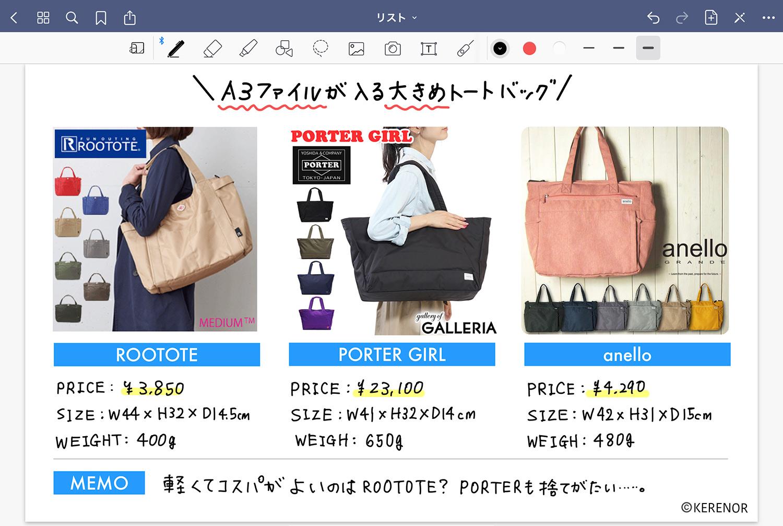 ノートアプリ 「GoodNotes 5」で視覚的に商品を比較する -  バッグ