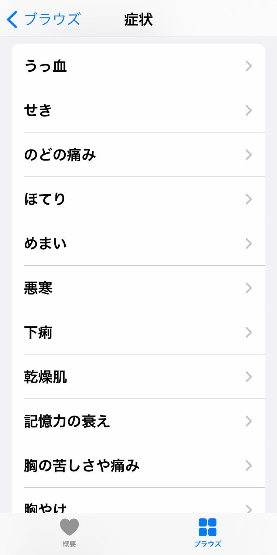 iPhone「ヘルスケア」アプリの「ブラウズ」画面で「症状」を記録する