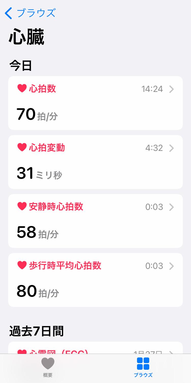 iPhone「ヘルスケア」アプリの「ブラウズ」画面で「心臓」のデータを確認する