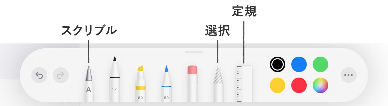 iPad純正メモアプリ:Apple Pencilで手書きでメモを書く - マークアップツールバーの説明
