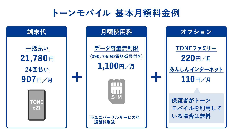 TONEモバイル(トーンモバイル)の基本月額使用料金例